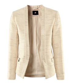 Fitted jacket in a textured weave containing glittery threads. Narrow chiffon trim at front, front zip pockets, and zips at the cuffs. No lapels or fasteners. H&m Jackets, Line Jackets, Outerwear Jackets, Casual Work Outfits, Work Casual, Work Attire, Work Wardrobe, Leggings Fashion, Polyvore