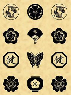 "This panel features Japanese family crests or ""mon"" in black on a tonal cream background. These family crests represent koi, flowers, fans, butterflies, and lanterns. Japanese mon are symbols used to"