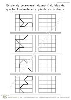 Dans les fiches de travail « Mémorisation motifs blocs (4x4) » l'élève doit retenir le design du bloc sur la gauche pour pouvoir le recopier dans la case vide sur la droite lorsque le design n'est plus visible.