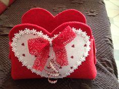 Cestino di feltro con cuoricini #felt #heart #diy #gift #christmas