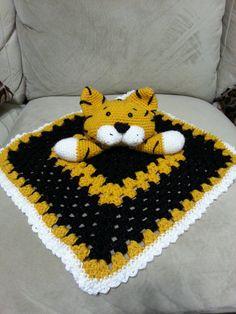 Mizzou Inspired Crochet Tiger Lovey by CuteCrochetByLaura on Etsy, $25.00