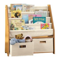 Children S Bookcases And Storage Kids Sling Bookshelf With Bins