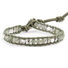 Labradorite and Silver Single Wrap Bracelet on Gauriya Leather