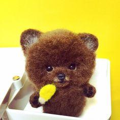 Cute Needle felting project felted wool animal dog(Via @chikuchikuchick)