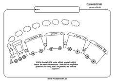 Játék vonat - geometriai formák.