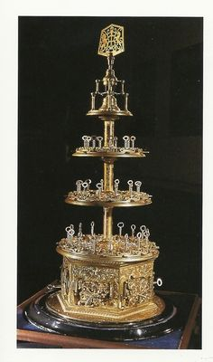 The Aubin Trophy which was constructed by famous locksmith Charles Aubin for The Great Exhibition of 1851. Nicknamed 'the wedding cake' it is 3 feet high and composed of 44 different interwoven brass locks with corresponding keys which can be turned individually or simultaneously by the large key at its top.