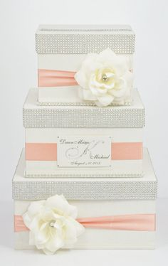 wedding box - ecru + coral