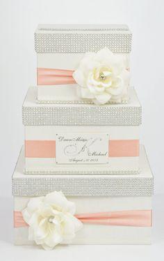 wedding box - ecru + coral