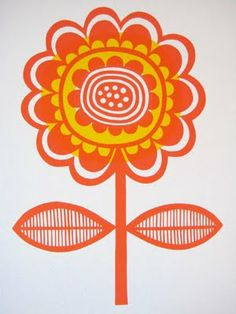 Scandinavian Flower screen Print by Jane Foster is a typical piece of work created with geometric shapes within it Scandinavian Pattern, Scandinavian Folk Art, Embroidery Patterns, Print Patterns, Pattern Design, Print Design, Logo Design, Motif Vintage, Illustration Art