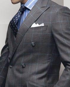 Znalezione obrazy dla zapytania MEDIUM GREY suit WITH BLUE WINDOWPANE