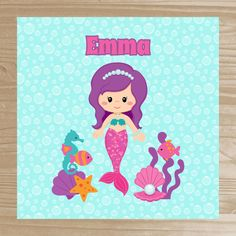 Personalized Mermaid Shower Curtain  Your little ones will enjoy getting squeaky clean in a bathroom adorned with our personalized shower curtains. The shower curtains are made from a thick, water resistant polyester fabric.  Design - Mermaid  SHOWER CURTAIN DETAILS: Size - 70 x 70 Inches or 70 x 90 Inches Features - Design on front, white back side, machine washable, 12 button holes for easy hanging (rings and rod are not included)  HOW TO ORDER: ~ Select your shower curtain length from the…