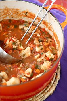 The soup our friends request the most: Fisherman's Soup with Tilapia, Shrimp, Tomatoes & Capers   cookincanuck.com #soup
