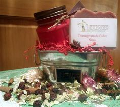 A pomegranate themed gift set from www.petermanbrookherbfarm.com. Pomegranate, Gift Baskets, Herbalism, Decor Ideas, Table Decorations, Gifts, Home Decor, Sympathy Gift Baskets, Herbal Medicine