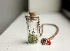 Usagi - Bunny Terrarium Necklace - mini glass bottle pendant, miniature woodland forest animal necklace