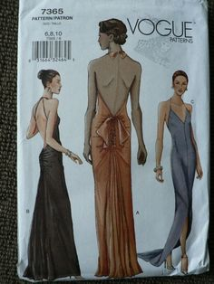 Vogue 7365 Formal Evening Dress Sz 6 8 10 Uncut Vintage Sewing Pattern | eBay