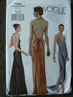 Vogue 7365 Formal Evening Dress Sz 6 8 10 Uncut Vintage Sewing Pattern | eBay