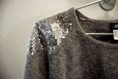 paillettes..sequined shoulders...in grey