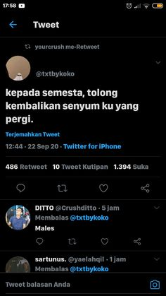 Quotes Sahabat, Tweet Quotes, Anime Couples Drawings, Quotes Indonesia, Twitter Twitter, Self, Messages, God, Dios
