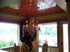 Venetian stucco on the ceiling look like polished wood
