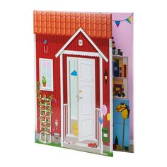 SPEXA Doll& house IKEA Dollhouse in the form of a book, with 4 different room settings. Easy to fold and store away. Ikea Dollhouse, Cardboard Dollhouse, Dollhouse Ideas, Ikea Toys, Ikea Shopping, Ikea Usa, Monster House, House Wall, Home Wallpaper