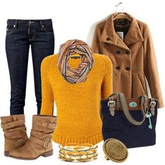 Love the yellow sweater & scarf