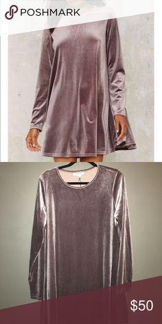 Velvet long sleeve mini dress Nasty Gal velvet lilac long sleeve mini dress. Runs very big. Size large but fits more like an XL Nasty Gal Dresses Mini