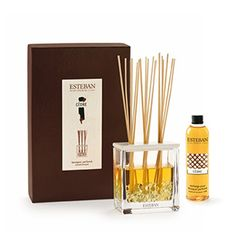 "Esteban Paris Cedar Scented Bouquet - Each gift box includes a vase, its deco filler, a ceramic cap, 20 perfume sticks (8.5""h) and a scented bouquet refill. 250ml/8.45 fl oz."