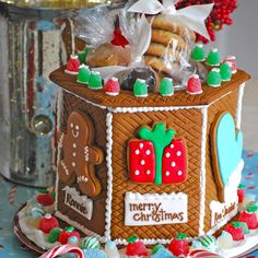 Christmas Gingerbread Cookie Jar loaded with tasty goodies...handmade by The Solvang Bakery.