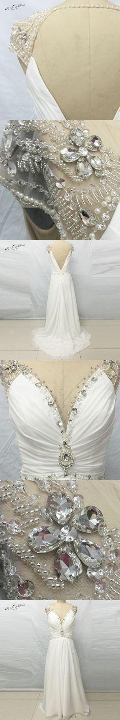 Sexy Backless Beach Wedding Dress Rhinestones Long Bride Dresses Cheap 2017 Chiffon Summer Wedding Gown Vestidos de Novia Barato