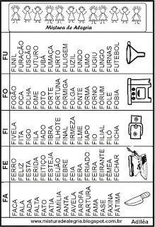Fichas de leitura para alfabetização