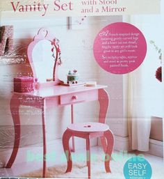 New Childrens Wooden Pink Amelia Vanity Set  Dressing Table With Mirror    StoolWhite Wooden Dressing Table and Stool for Little Girl from ELC  . Diy Vanity For Little Girl. Home Design Ideas
