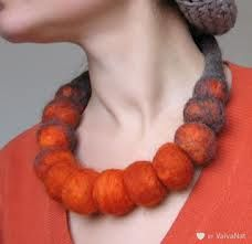 Chunky Burnt Orange Felt Statement Necklace Choker / Large beads / hand made from wool, hand felted Textile Jewelry, Fabric Jewelry, Felted Jewelry, Needle Felting Supplies, Felt Necklace, Diy Necklace, Pendant Necklace, Felt Brooch, Fabric Beads