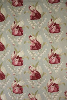 Fabulous Antique French printed tulip and Lily of the valley pattern fabric ~ c 1900 ~ wonderful printed textile from France ~ www.textiletrunk.com