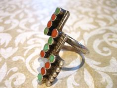 Vintage Sterling Silver Turquoise and Coral Ring by charmingellie, $43.00