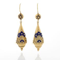 Victorian Etruscian Revival 15 karat Gold and Enamel Ear Pendants. Available exclusively at Macklowe Gallery. Moon Jewelry, Jewelry Art, Fine Jewelry, Fashion Jewelry, Jewellery, Edwardian Jewelry, Antique Jewelry, Vintage Jewelry, Handmade Jewelry