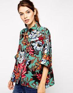 Enlarge ASOS Floral Print Short Sleeve Kimono Blouse