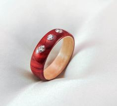 Wood Ring  Red Heart Ring  Three Stone Ring  Cubic Zirconia
