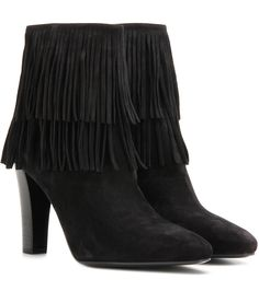 Lily 95 black suede ankle boots - Layers of black, supple suede fringe give this pair a dimensional, textured look, and the stacked heel is the perfect length for nights in the city. We're making the most of this trend and styling with black leather trousers. - @ www.mytheresa.com