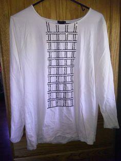 Ann Taylor XL White w Black Sequin Design Long Sleeve Blouse Career Evening Top #AnnTaylor #Blouse #EveningOccasion
