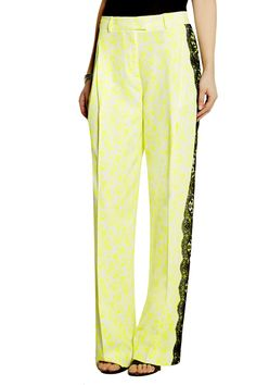 Lace-trimmed printed stretch-crepe wide-leg pants   Christopher Kane   UK   THE OUTNET