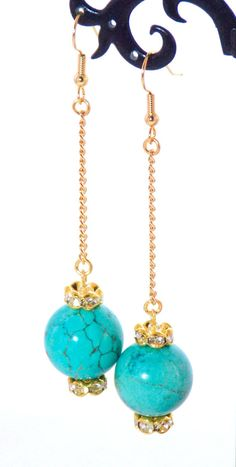 Blue Turquoise Gold Crystal Dangle Earrings by KMagnifiqueDesigns on Etsy.com