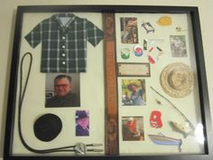 """""""Memory Shadow Box"""" This one was for my late Dad. The miniature shirt was made from fabric from one of his shirts. I made the pattern.  I used his belt to divide the areas. I used pictures that I liked then bought scrapbook miniatures of items in the pics. Like fishing or camping etc."""