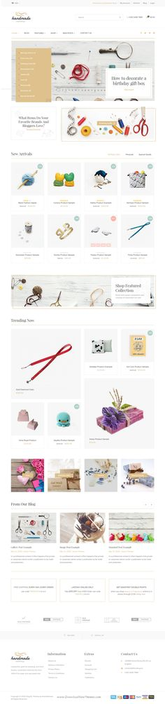 Handmade, the ultimate theme for Shopify, has been created as a great solution for online stores such as #Craft, Jewelry, #ArtWork, Vintage and Creative Goods store. Comes in wonderful 4 homepage layouts. #website