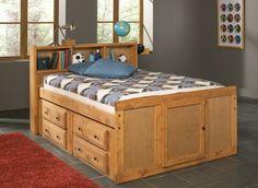Hillsdale - Platform Storage Bed with Bookcase Headboard ...
