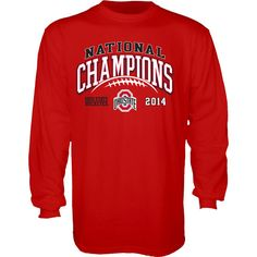 Ohio State Buckeyes 2015 College Football Playoffs National Champions Red Long Sleeve Shirt