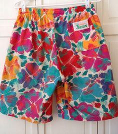 1980s Elastic Waist Chic Shorts  80s Shorts  Surf Shorts  1980s Surfer  High Waisted Shorts  Vintage Surf Clothes  Neon Shorts