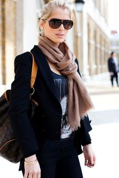 black blazer, t-shirt, black jeans , light brown scarf, sunglasses, lousi vuitton bag