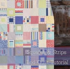 Simple bed quilt with block templates plus a chart ahowing number of blocks needed for twin to king versions