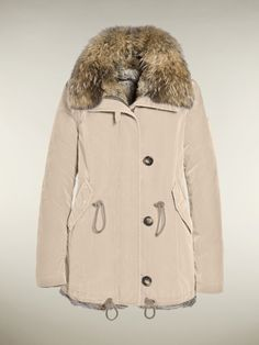 #Luxurious Fur Lined Winter #Coat for #Women by #Goldbergh. It comes in Beige with #Rabbit lined inside.
