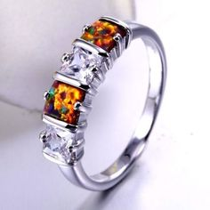 Orange-Gold Fire Opal White Gold Filled Ring Varius Sizes